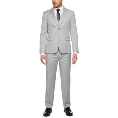 JF J.Ferrar Light Gray Tic Slim Fit Suit Separates