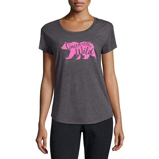 City Streets-Womens Crew Neck Short Sleeve T-Shirt