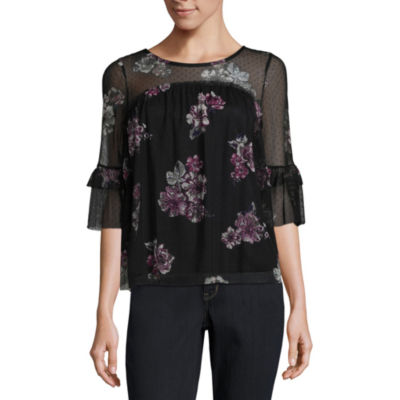 Almost Famous 3/4 Sleeve Babydoll Top-Juniors