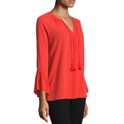a.n.a Womens Split Crew Neck Long Sleeve Peasant Top