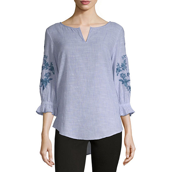 Liz Claiborne 3/4 Embroidered Sleeve Blouse - Tall