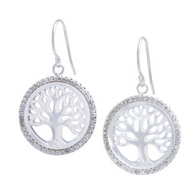 Genuine White Mother Of Pearl Sterling Silver Drop Earrings