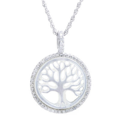 Womens Genuine White Mother Of Pearl Pendant Necklace