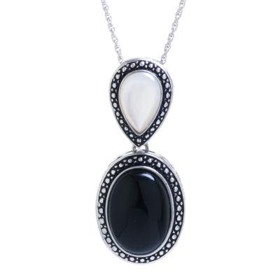 Womens Genuine Black Onyx Pendant Necklace