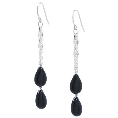 Genuine Black Onyx Drop Earrings
