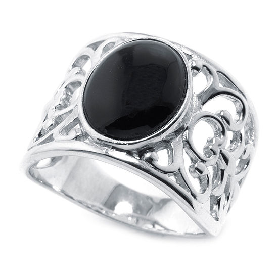 Womens 15MM Genuine Black Onyx Sterling Silver Band