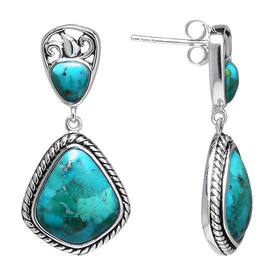 Enhanced Blue Turquoise Drop Earrings