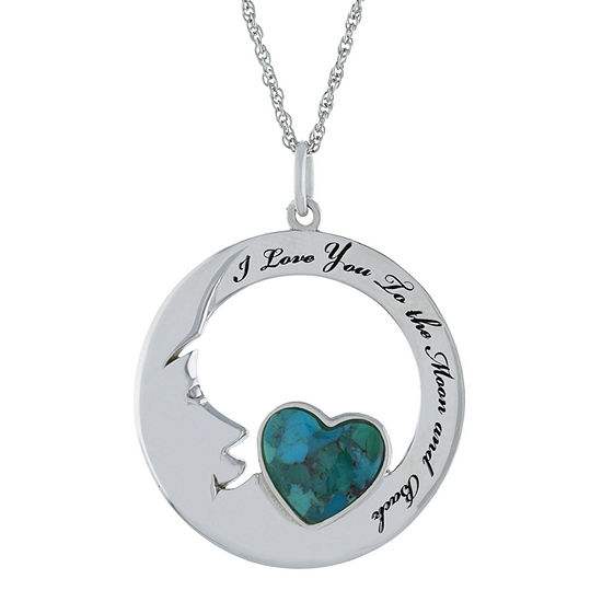 I Love You To The Moon In Back Womens Enhanced Blue Turquoise Sterling Silver Pendant Necklace