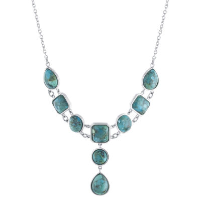 Womens Enhanced Blue Turquoise Sterling Silver Collar Necklace