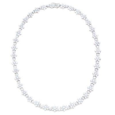 Diamonart Womens White Cubic Zirconia Statement Necklace