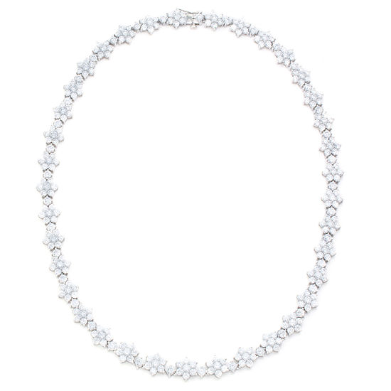 Diamonart Womens White Cubic Zirconia Sterling Silver Statement Necklace