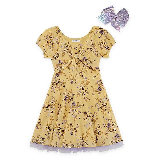 Knit Works Girls Short Sleeve Raglan Sleeve Skater Dress - Preschool / Big Kid