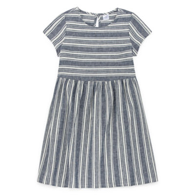 Peyton & Parker Girls Short Sleeve Striped A-Line Dress - Preschool / Big Kid