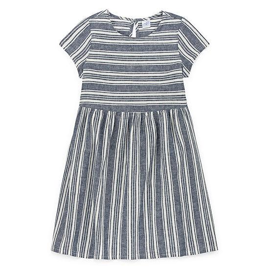 Peyton & Parker Girls Short Sleeve Striped A-Line Dress - Preschool / Big Kid
