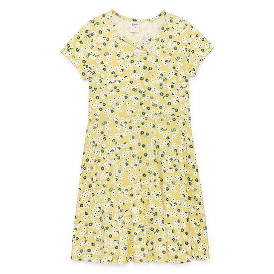 Arizona Short Cap Sleeve Floral A Line Dress Girls