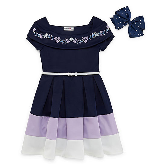 Knit Works Belted Short Cap Sleeve Skater Dress - Big Kid Girls