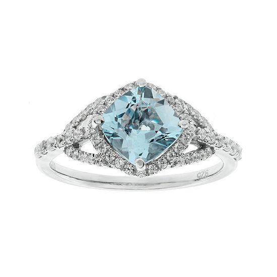 1/3 CT. T.W. Diamond and Genuine Aquamarine 10K White Gold Ring