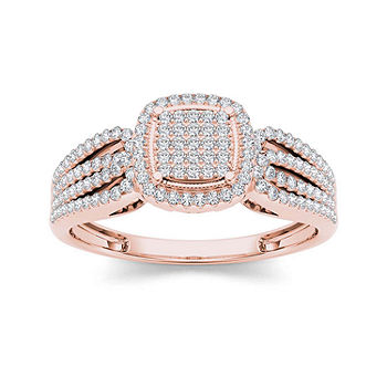 1 3 Ct T W Diamond 10k Rose Gold Engagement Ring Color Rose Gold Jcpenney