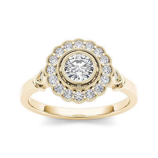 1/2 CT. T.W. Diamond Flower Halo 10K Yellow Gold Engagement Ring