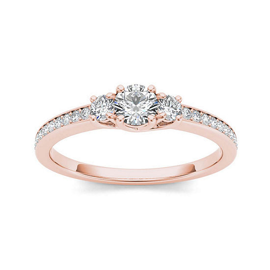 1/2 CT. T.W. Diamond 14K Rose Gold 3-Stone Engagement Ring