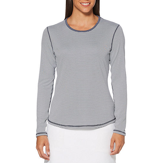 PGA TOUR Womens Crew Neck Long Sleeve Graphic T-Shirt