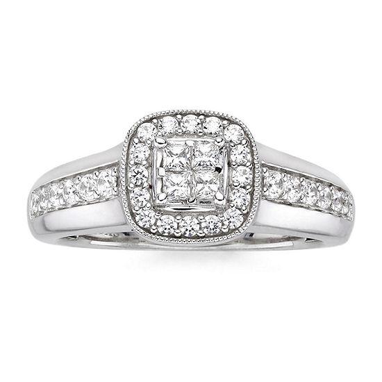 I Said Yes™ 1/2 CT. T.W. Diamond & Lab-Created Blue Sapphire Milgrain Ring