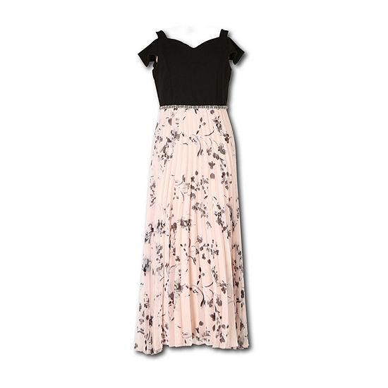 Speechless Girls Embellished Short Sleeve Cold Shoulder Sleeve Maxi Dress - Big Kid
