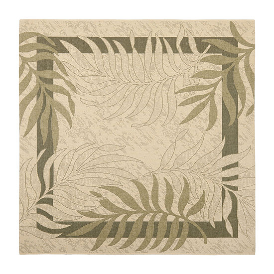 Safavieh Courtyard Collection Wilmer Floral Indoor/Outdoor Square Area Rug