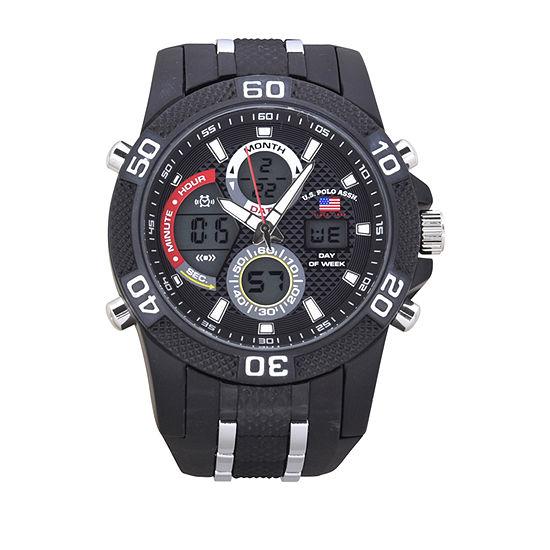 Us Polo Assn. Mens Black Strap Watch-Us9724jc