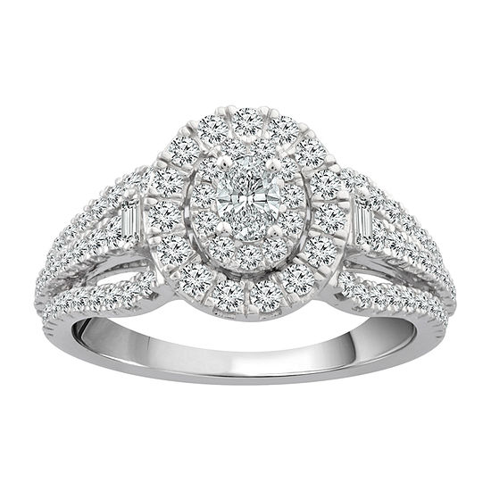 Womens 1 CT. T.W. Genuine White Diamond 10K White Gold Engagement Ring