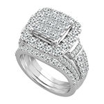 Womens 3 CT. T.W. Genuine White Diamond 10K White Gold Bridal Set