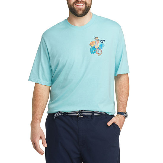IZOD-Big and Tall Mens Crew Neck Short Sleeve Graphic T-Shirt