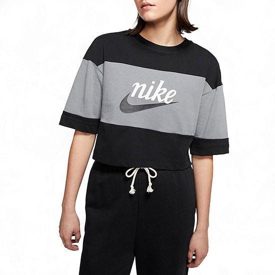 Nike Womens Crew Neck Short Sleeve Crop Top