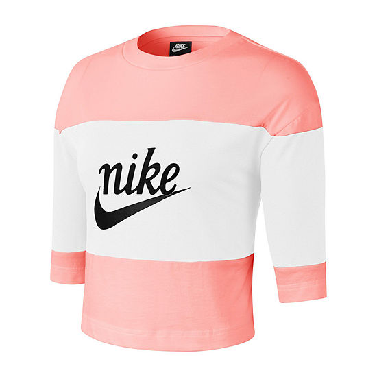 Nike Womens Crew Neck 3/4 Sleeve Crop Top