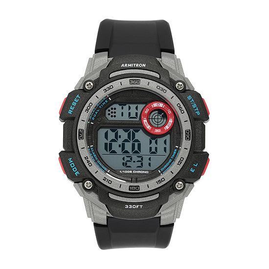 Armitron Prosport Mens Chronograph Black Strap Watch-40/8463rbk