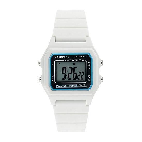 Armitron Pro Sport Womens Chronograph White Strap Watch-40/8447wht