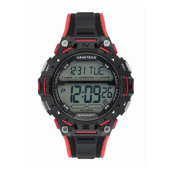 Armitron Pro Sport Mens Chronograph Black Strap Watch-40/8455rbk