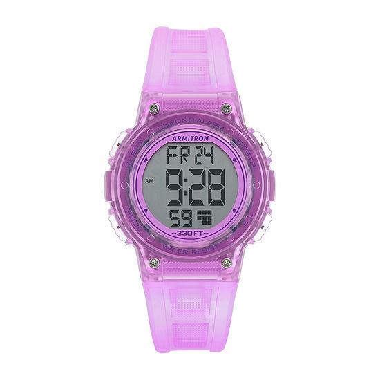 Armitron Pro Sport Womens Chronograph Digital Purple Strap Watch-45/7086tpr
