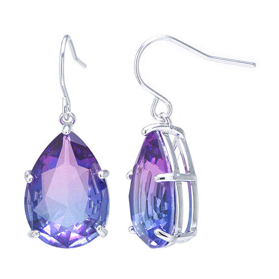 Sparkle Allure Pure Silver Over Brass Crystal Pear Drop Earrings