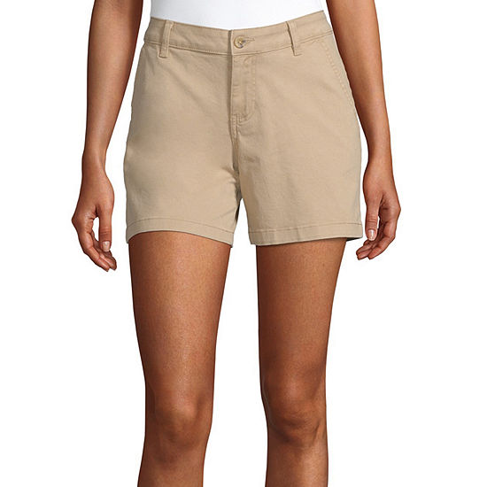 "a.n.a-Tall Womens Mid Rise 5"" Chino Short"