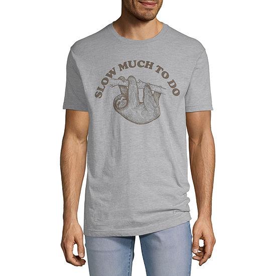 Slow Sloth Mens Crew Neck Short Sleeve Humor Graphic T-Shirt