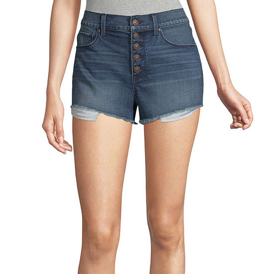 "Rewash Womens High Rise 2 1/2"" Denim Short-Juniors"
