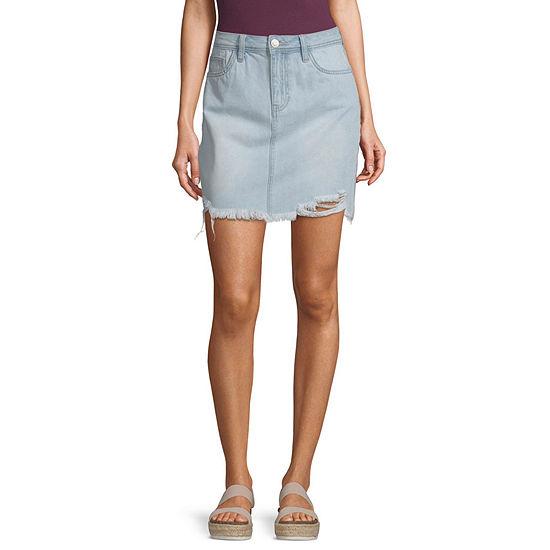 Ymi Womens High Rise Midi Denim Skirt-Juniors