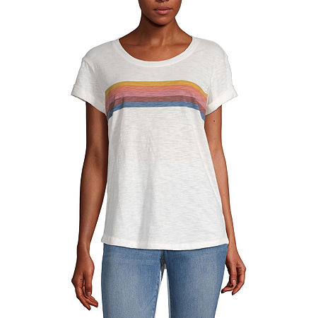 a.n.a-Womens Round Neck Short Sleeve T-Shirt, Small , White