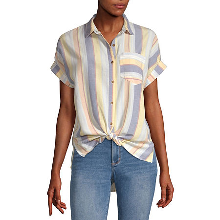 a.n.a Womens Short Sleeve Camp Shirt, X-small , Multiple Colors