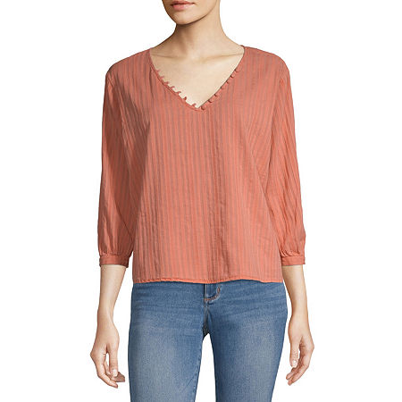 a.n.a Womens V Neck 3/4 Sleeve Blouse, Small , Pink