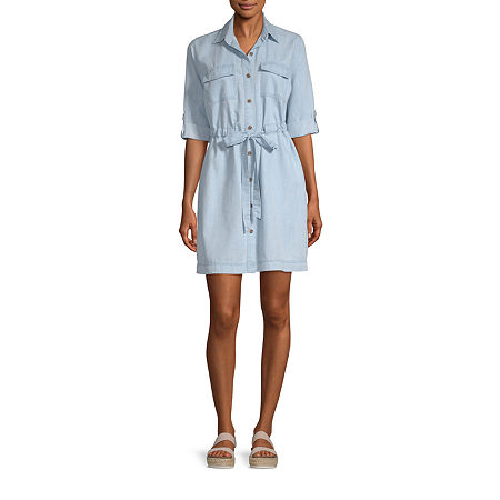a.n.a Womens Short Sleeve Shirt Dress, X-small , Blue