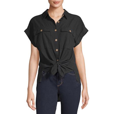 a.n.a Womens Short Sleeve Camp Shirt, Small , Black