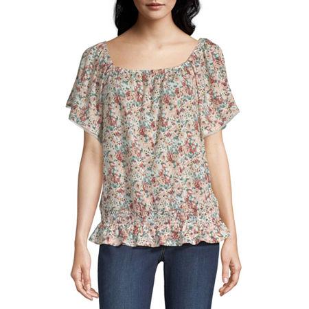 Alyx Womens Square Neck Short Sleeve Knit Blouse, Medium , White