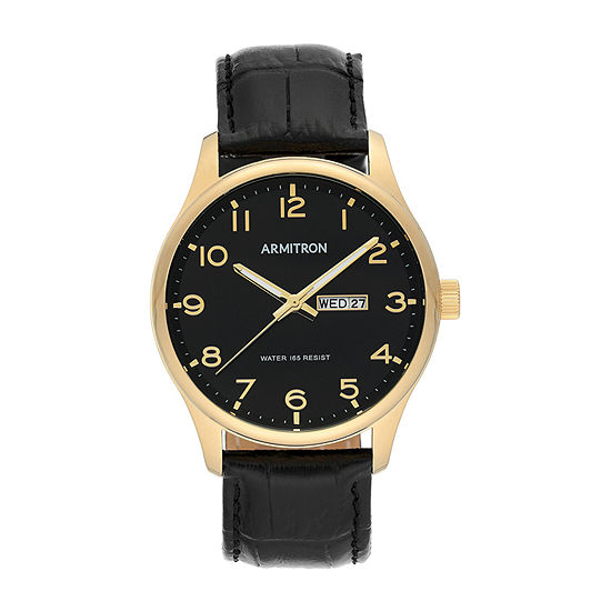 Armitron Mens Black Leather Strap Watch-20/5355bkgpbk